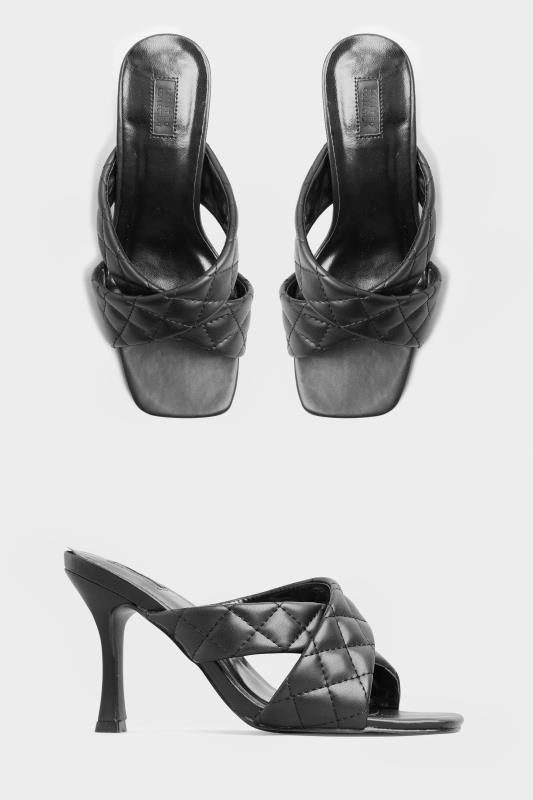 LIMITED COLLECTION Black Cross Quilted Stiletto Mules In Extra Wide Fit