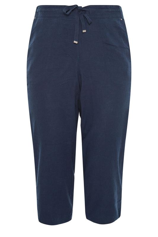 Navy Cropped Linen Mix Trousers_F.jpg