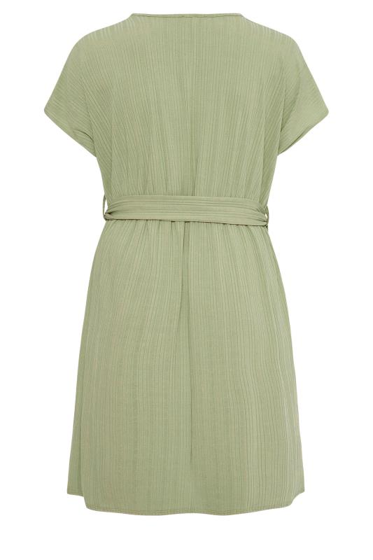 YOURS LONDON Green Ribbed Belted Dress_bk.jpg