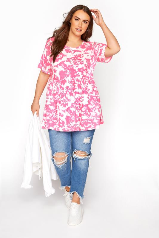 Pink Tie Dye Drop Shoulder Peplum Tunic
