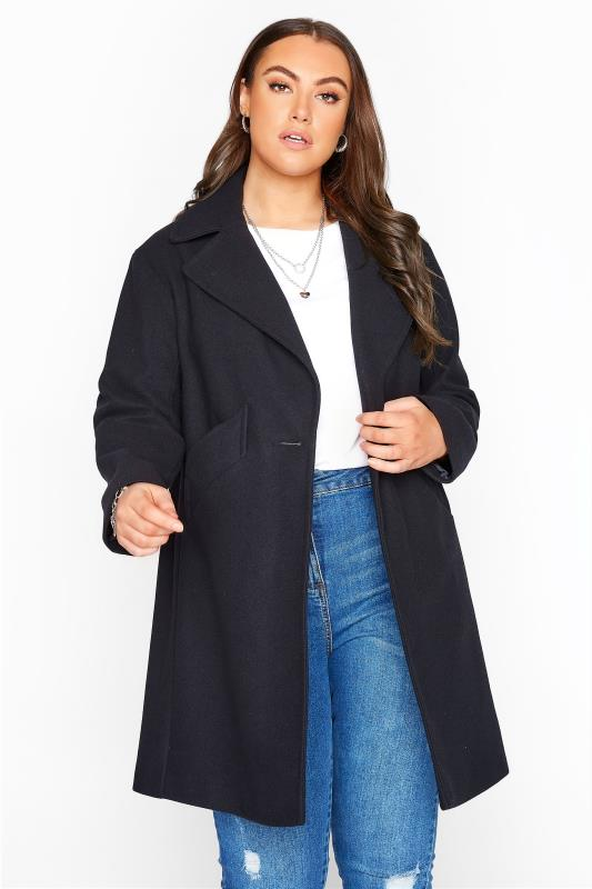 Plus Size  Black Collared Button Coat