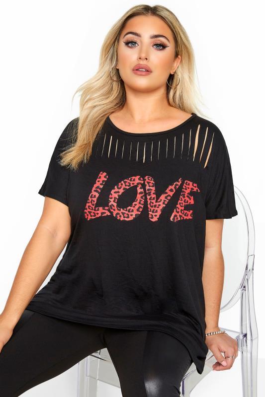 Plus Size Day Tops Black Leopard Print 'Love' Slogan Laser Cut Top
