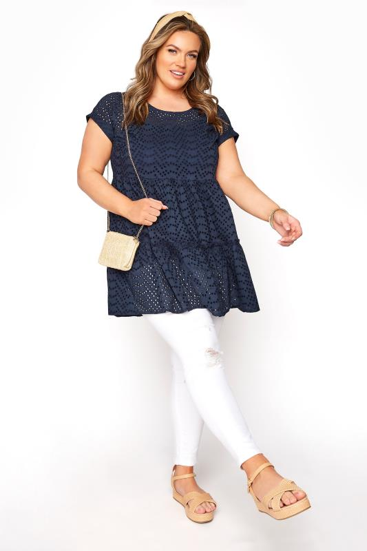 Navy Smock Tiered Tunic
