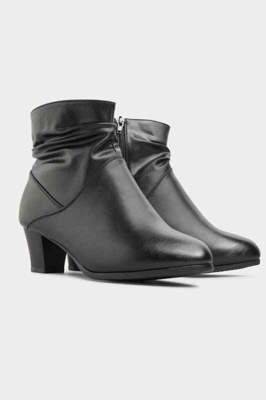 Black Vegan Faux Leather Ruched Heeled Ankle Boots In Extra Wide Fit_B.jpg
