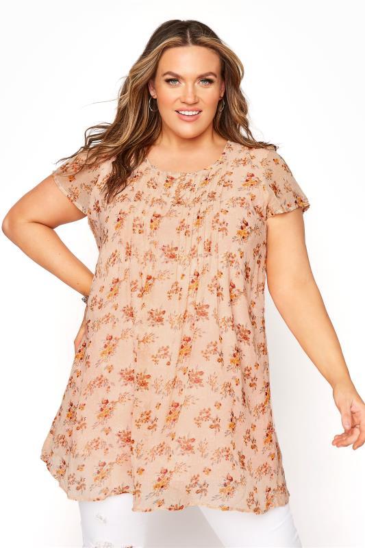 Plus Size  Cream Floral Pleat Front Short Sleeve Top
