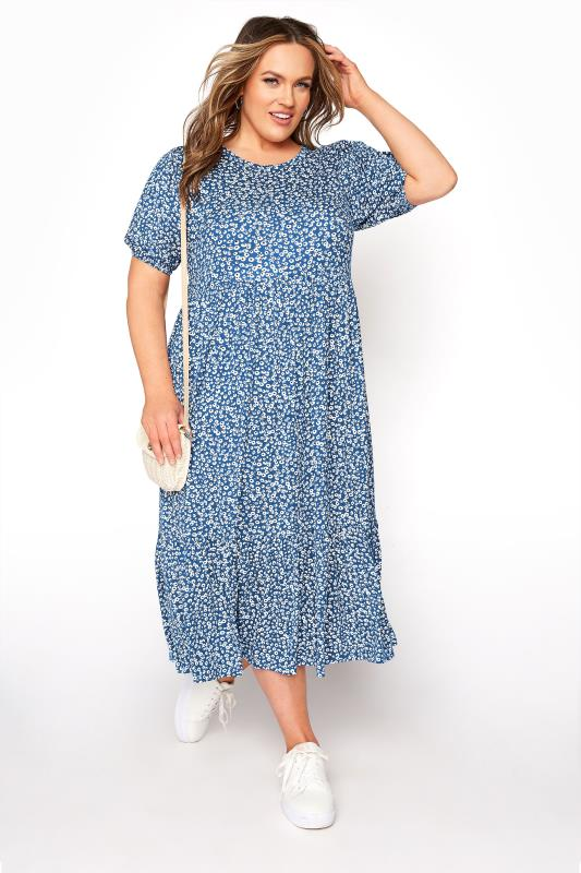 Blue Ditsy Frill Hem Puff Sleeve Midi Smock Dress_B.jpg