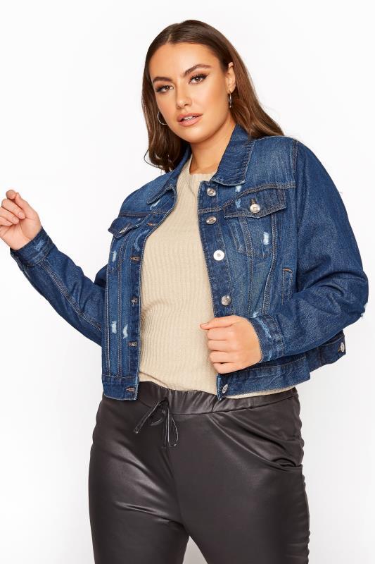 Grande Taille Indigo Blue Distressed Denim Jacket