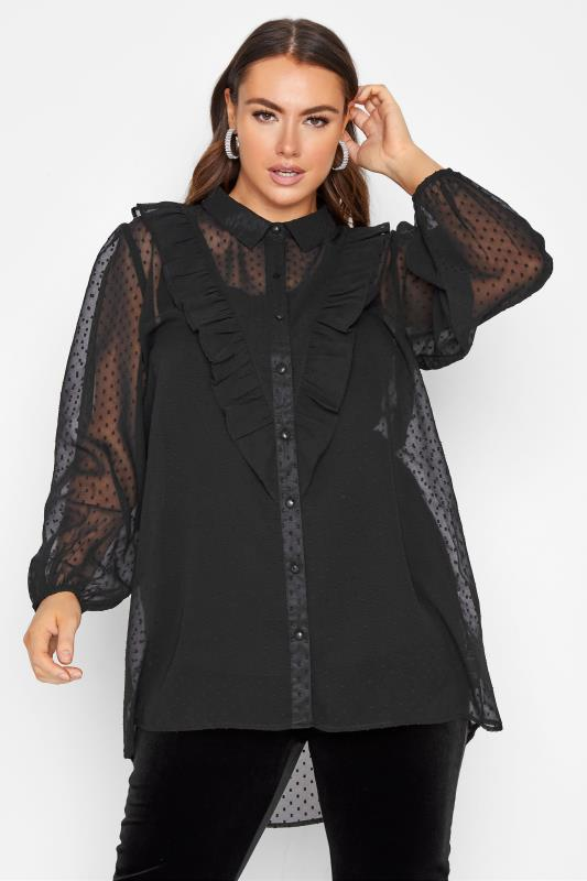 Plus Size  LIMITED COLLECTION Black Dobby Chiffon Shirt