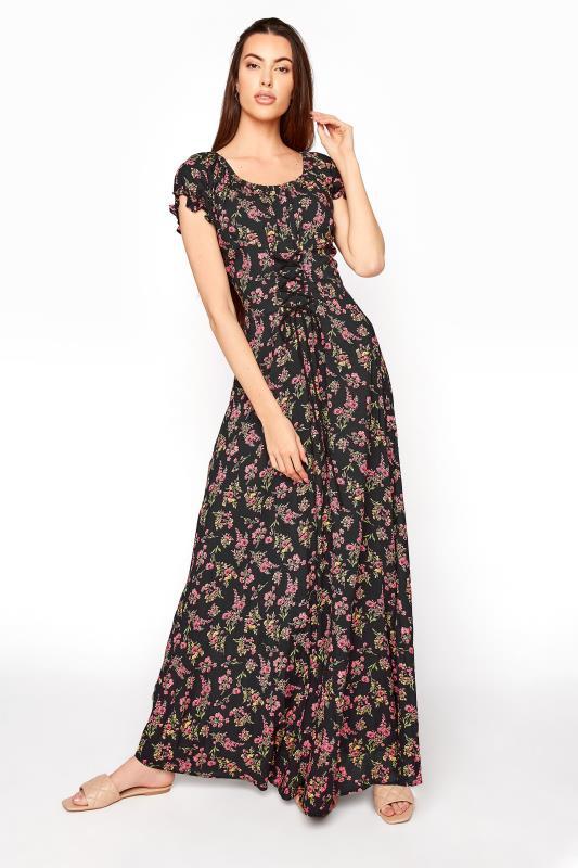 LTS Black Floral Puff Sleeve Corset Maxi Dress_B.jpg