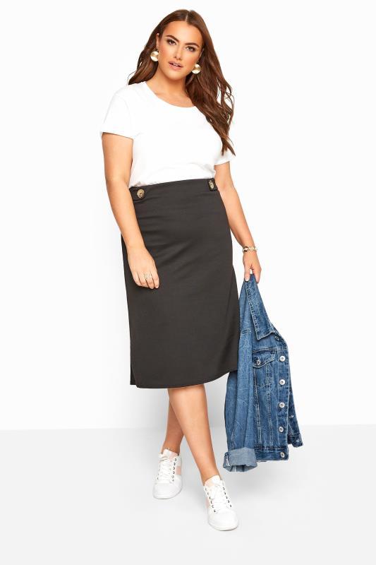 Plus Size Midi Skirts Black Button Midi Skirt