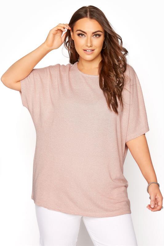 Plus Size  Pink Marl Grown On Sleeve Top