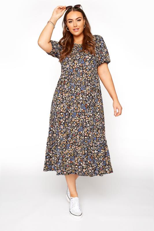 Black Paisley Print Puff Sleeve Midaxi Dress_A.jpg
