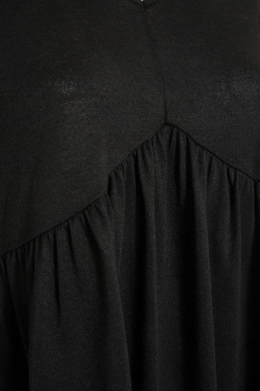 Black V-Neck Knitted Peplum Top_S.jpg