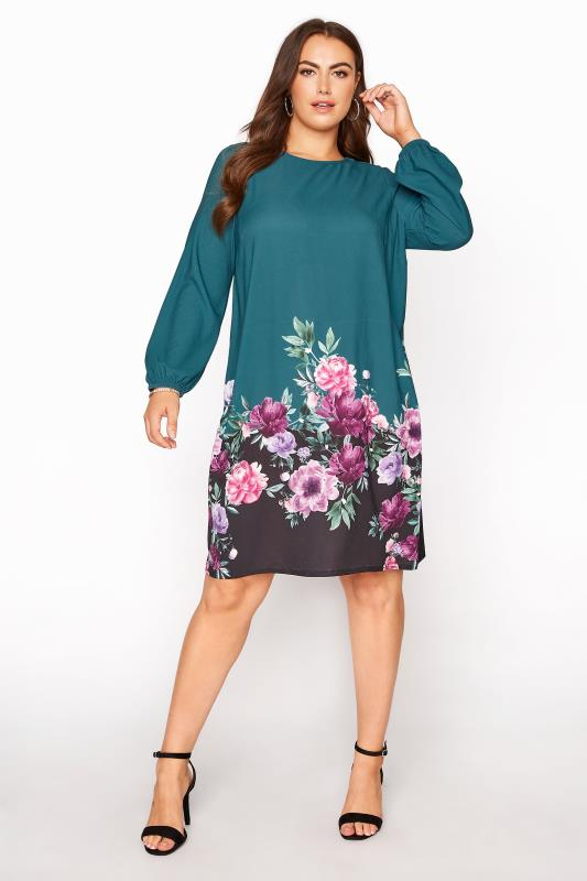 dla puszystych YOURS LONDON Teal Floral Shift Dress