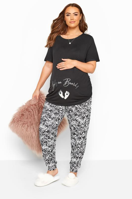 Maternity Loungewear BUMP IT UP MATERNITY Black 'Baby On Board' Lounge Set