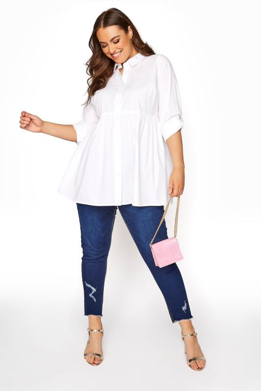YOURS LONDON White Turn-Up Sleeve Smock Cotton Shirt