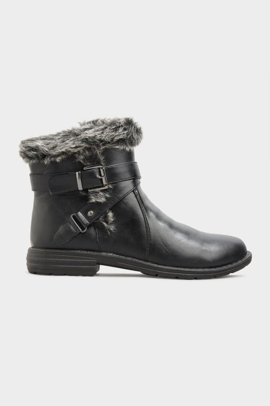 Black Vegan Faux Leather Buckle Ankle Boots In Wide Fit_A.jpg