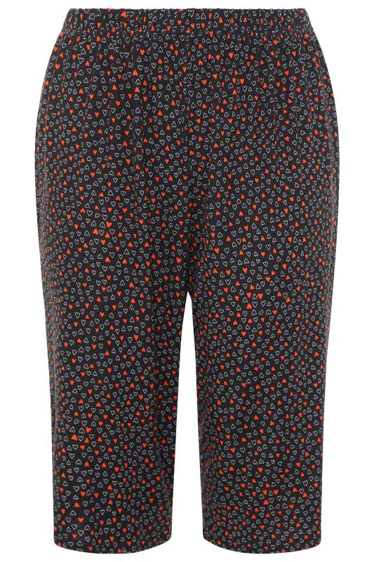 Plus Size  LIMITED COLLECTION Black Heart Print Cropped Lounge Trousers