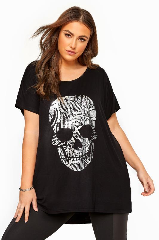 Black Foil Snake Skull Print Top