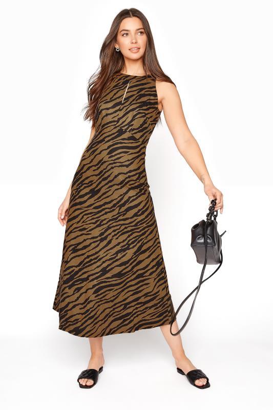 Brown Animal Print Linen Blend Keyhole Dress_B.jpg