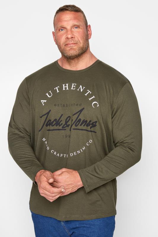 Men's  JACK & JONES Green Herro Long Sleeve T-Shirt