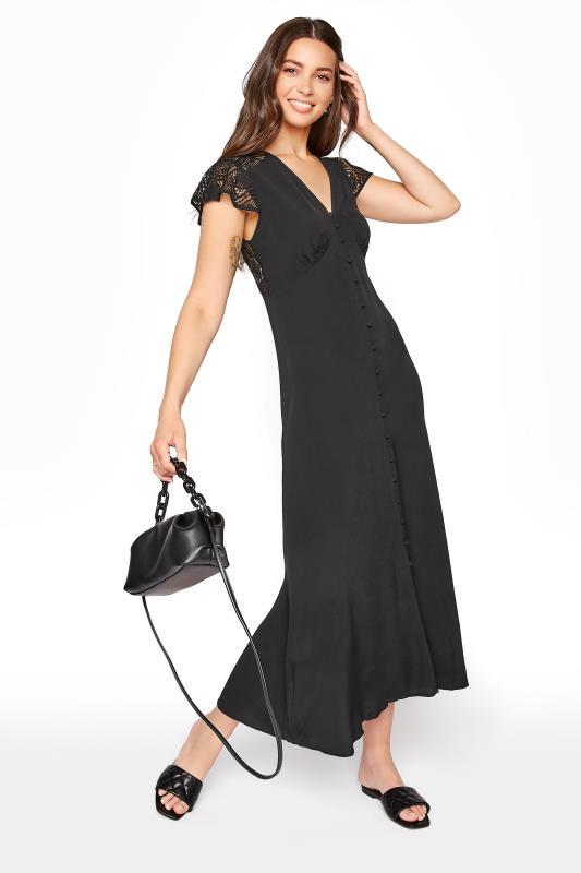 Black Lace Mix Empire Waist Dress