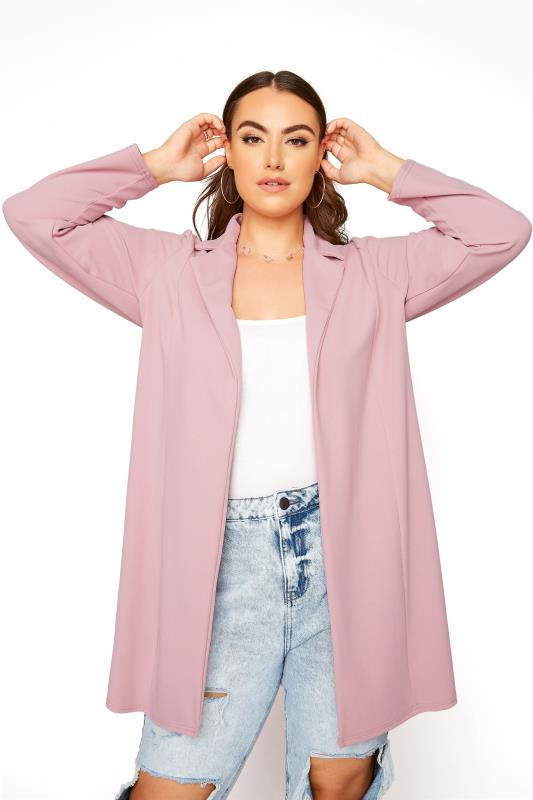 Plus Size  Dusky Pink Longline Blazer
