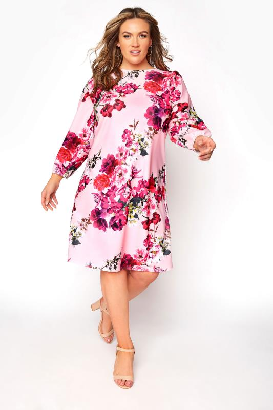 Plus Size  YOURS LONDON Pink Floral Shift Dress