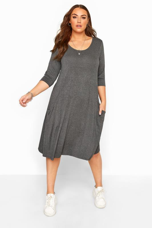 Plus Size  Charcoal Grey Drape Pocket Dress