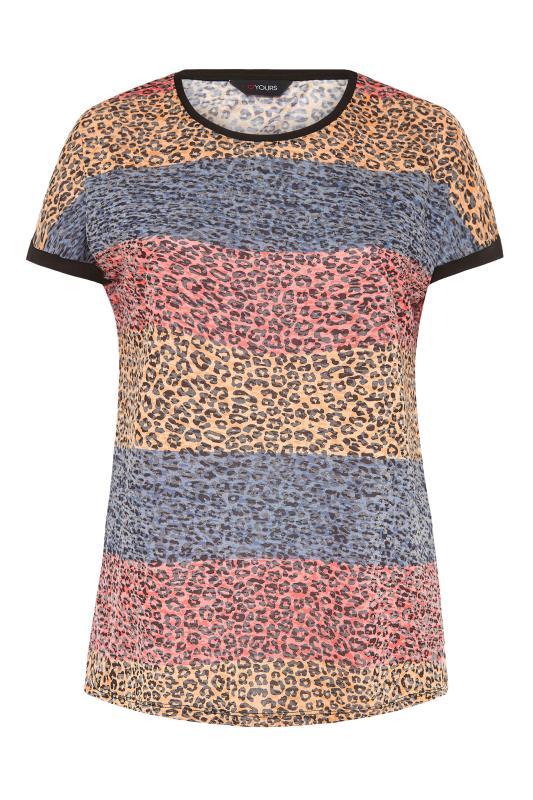 Pink Leopard Print Colour Block T-Shirt_F.jpg
