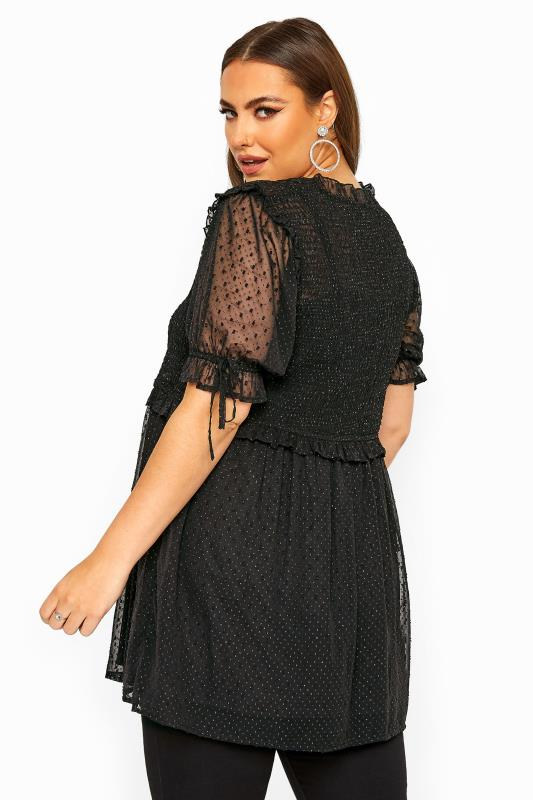 LIMITED COLLECTION Black Shirred Sparkle Peplum Top