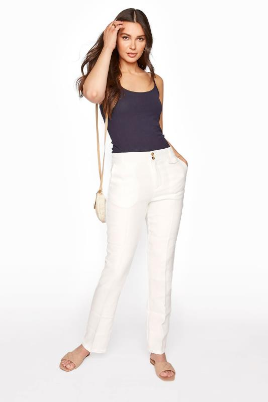 Tall Trousers Cream Linen Trousers