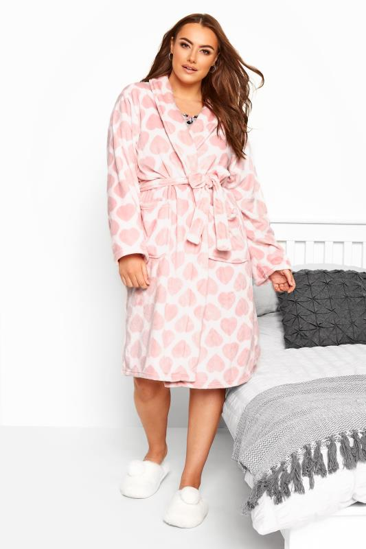 Plus Size Dressing Gowns Pink Heart Print Shawl Dressing Gown