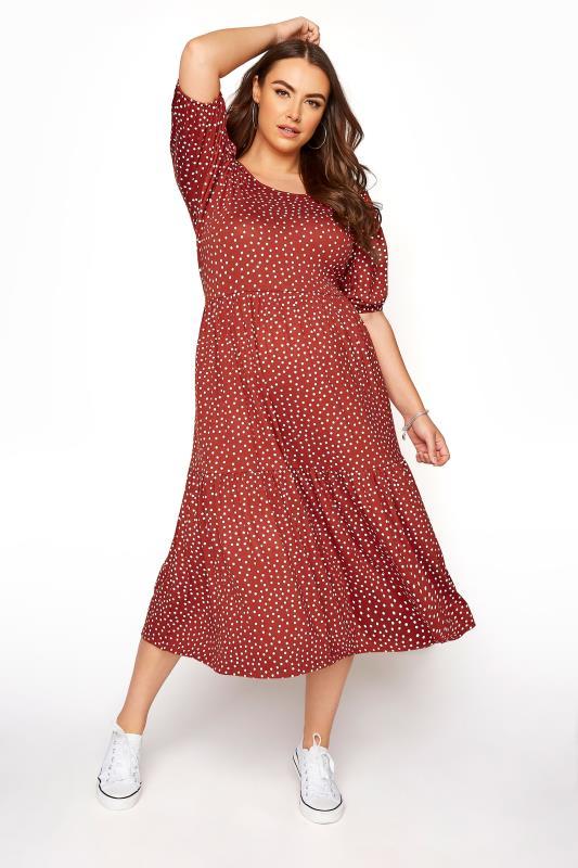 Rust Spot Print Puff Sleeve Midaxi Dress