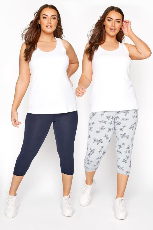 Plus Size  2 PACK Navy & Grey Butterfly Print Cropped Leggings