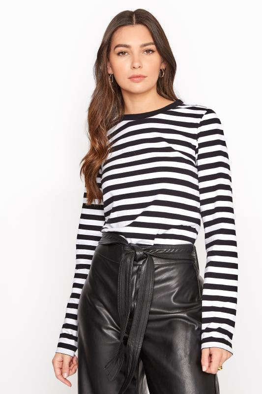 Tall  Black & White Stripe Long Sleeve Top