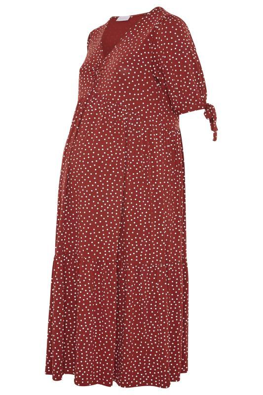 BUMP IT UP MATERNITY Red Polka Dot Smock Midaxi Dress_F.jpg