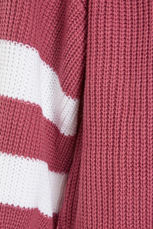 Pink Varsity Stripes Knitted Cardigan_S.jpg