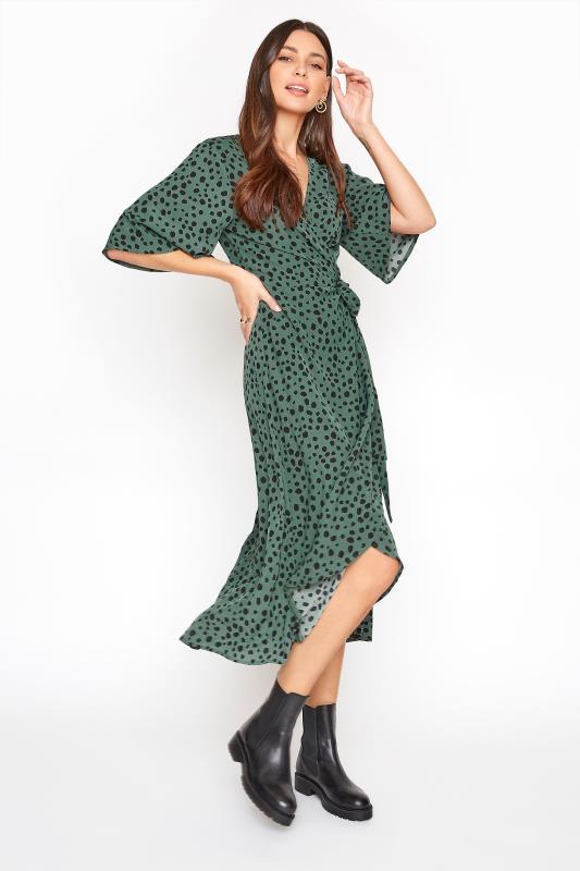 LTS Dark Sage Green Dalmatian Wrap Midi Dress