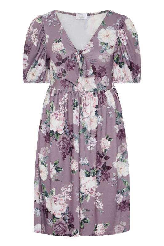 YOURS LONDON Lilac Floral Bow Front Dress_F.jpg