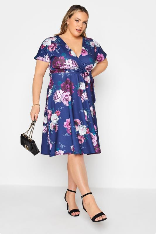 YOURS LONDON Blue Floral Rose Skater Dress_B.jpg