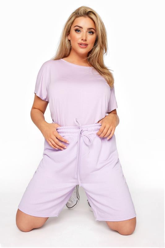 Plus Size  Lilac Jersey Jogger Shorts
