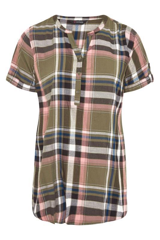 Khaki Grown On Sleeve Check Shirt_F.jpg