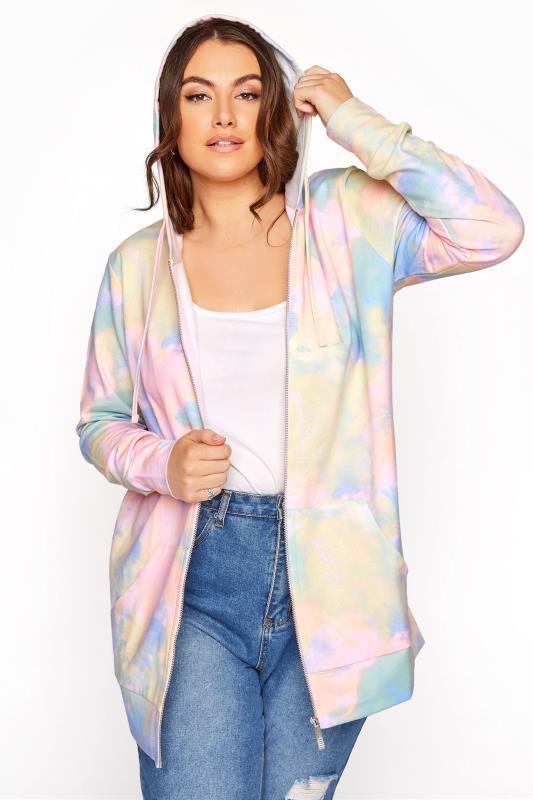 Plus Size  Multi Pastel Tie Dye Zip Hoodie