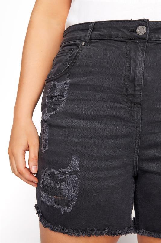 Washed Black Ripped Denim Mom Shorts_D.jpg