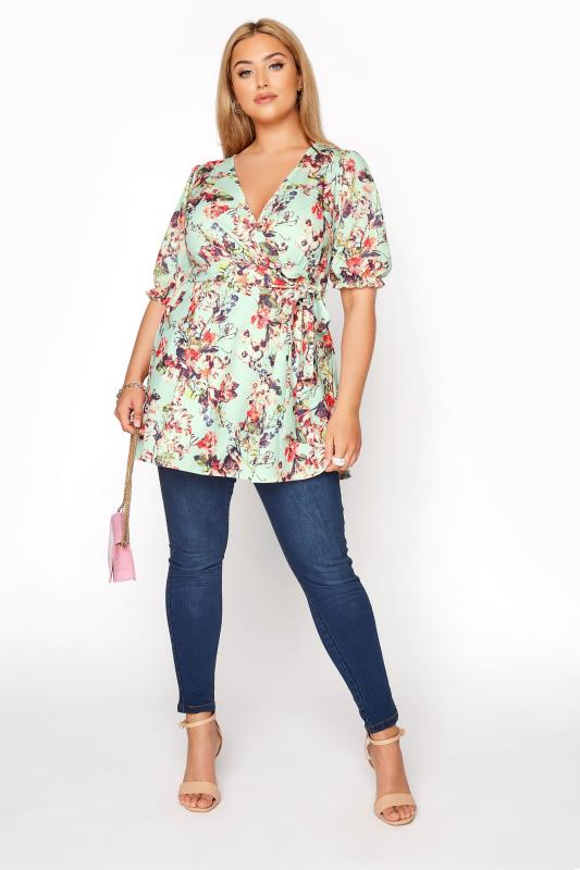 YOURS LONDON Sage Green Floral Puff Sleeve Wrap Top_B.jpg