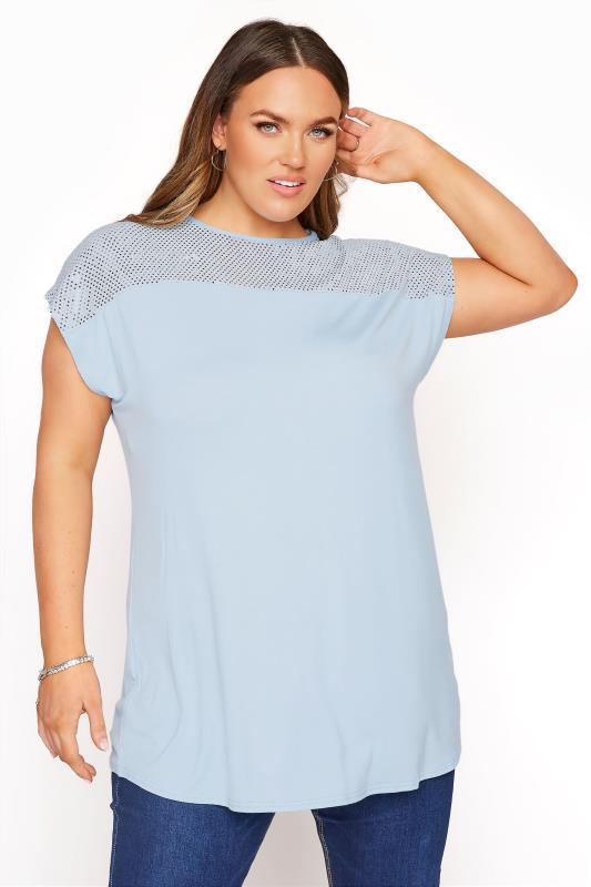 Plus Size  YOURS LONDON Pale Blue Sequin Panel Top