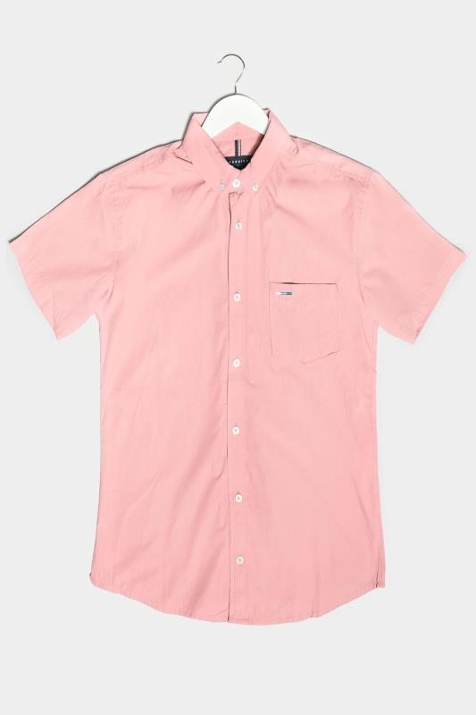 Men's Casual Shirts BadRhino Pink Cotton Poplin Short Sleeve Shirt