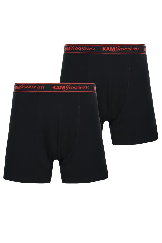 Men's Hair Accessories KAM 2 PACK Black Jersey Boxers