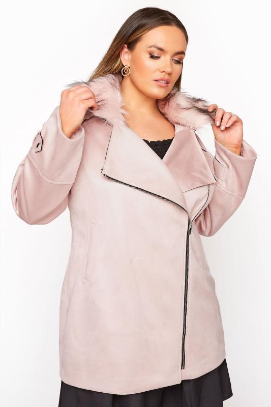 Plus Size  Pink Faux Suede Fur Trim Coat